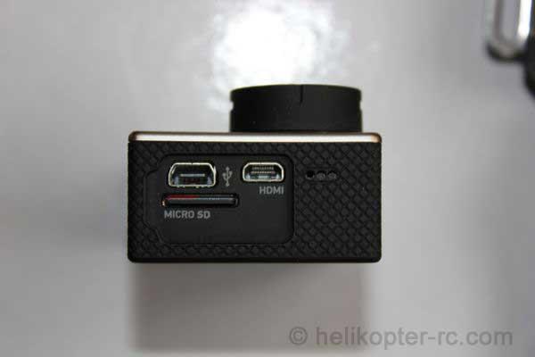 Anschlüsse Gopro Hero Black, USB, HDMI und Mircro SD