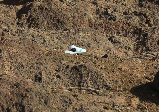 Abgebrochender Arm mit Propeller des Quadcopter V303 nach Absturz